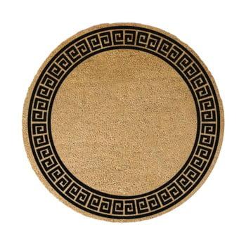 Covoraș intrare rotund fibre de cocos Artsy Doormats Greek Border, ⌀ 70 cm, negru imagine
