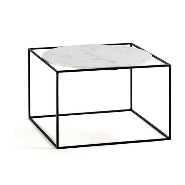 Černý konferenční stolek s mramorovou deskou Thai Natura, 60x60cm