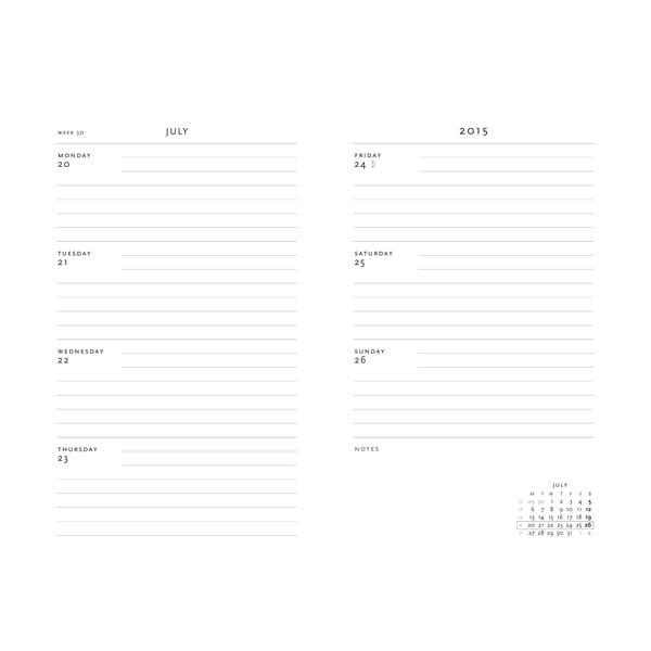 Diář pro rok 2015 Plume 7x9 cm, horizontální výpis dnů