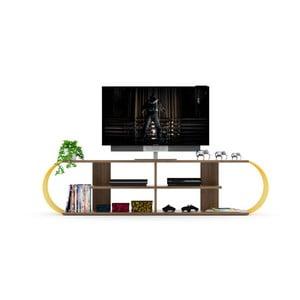 Televizní stolek s detaily v dekoru ořechového dřeva Monty