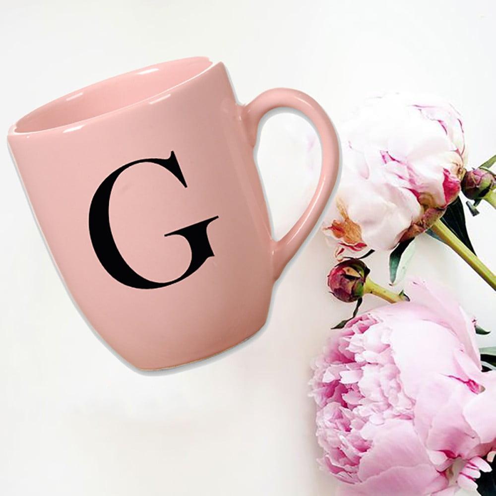 Růžový keramický hrneček Vivas Letter G, 330ml