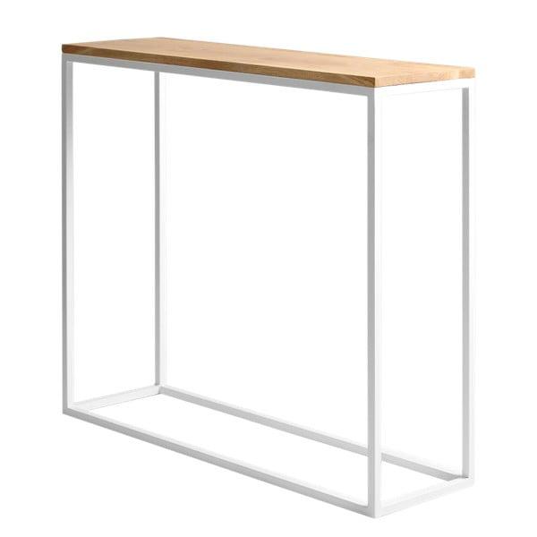 Bílý konzolový stolek s dubovou deskou Custom Form Julita