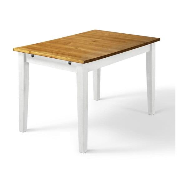 Daisy tömör fenyőfa étkezőasztal fehér lábakkal, 75 x 120 cm - Støraa