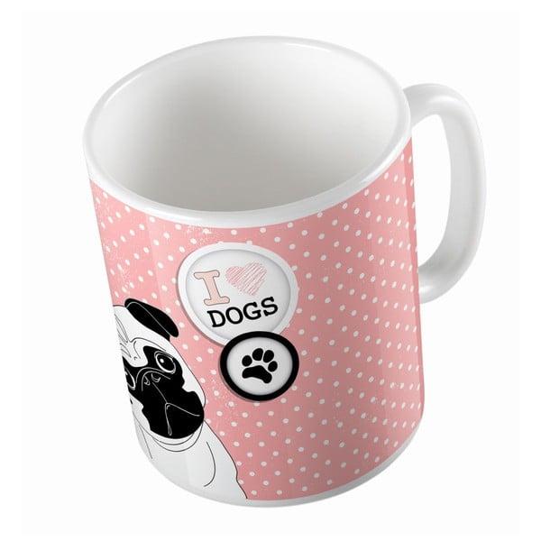 Cană din ceramică  Butter Kings Pug In Dots, 330 ml