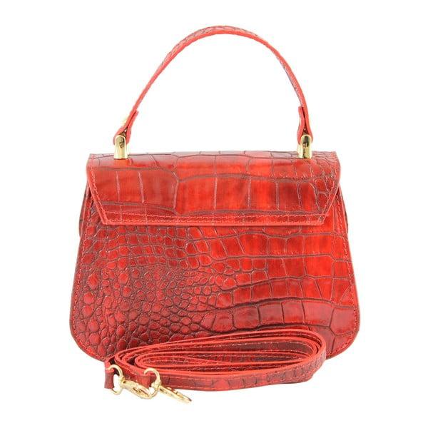 Červená kožená kabelka Caroline