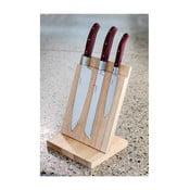 Sada 3 nožů s dřevěným stojanem Laguiole Isaie