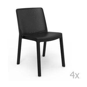 Sada 4 černých zahradních židlí Resol Fresh