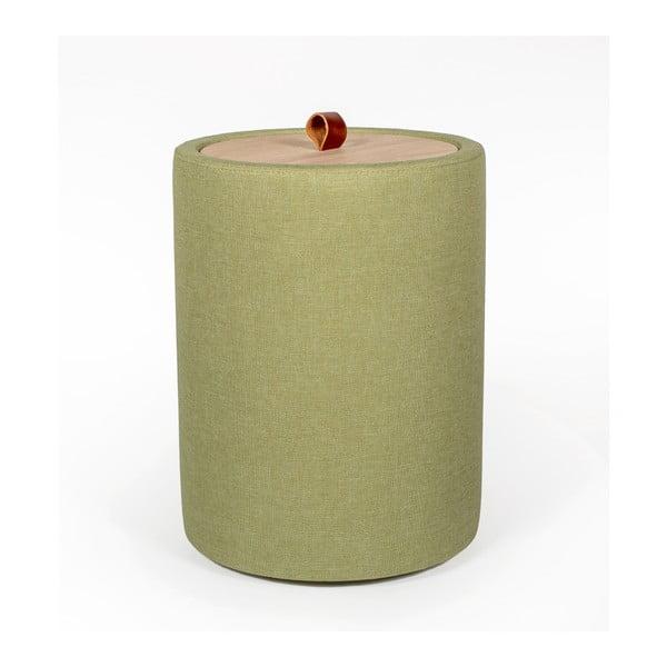 Ibisco zöld tárolóasztal, levehető tölgyfa asztallappal, ⌀ 36 cm - Askala