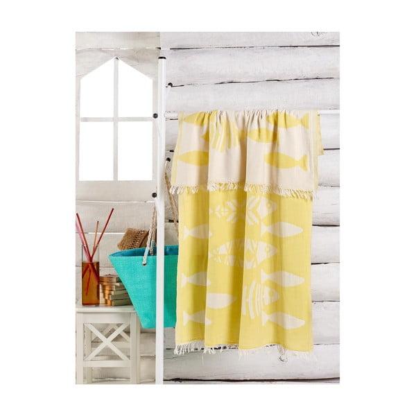 Żółty ręcznik Balik, 180x100 cm