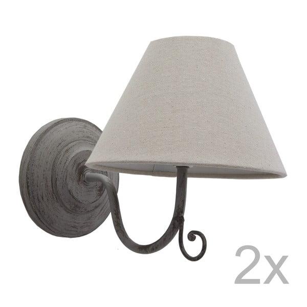 Sada 2 šedých nástěnných světel Bolzonella