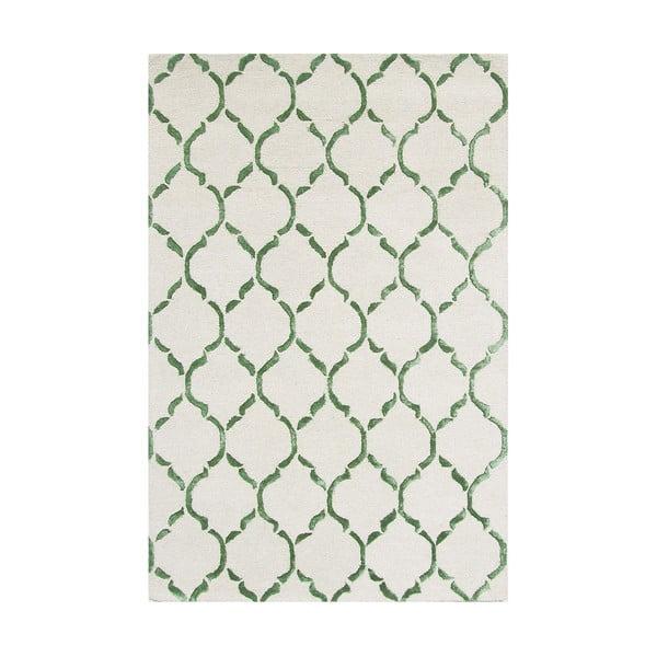 Ručně tkaný koberec Chain, 153x244 cm, zelený
