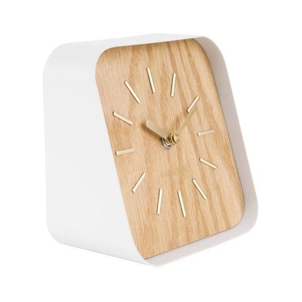 Bílé kovové stolní hodiny s dekorem dřeva Karlsson Squared