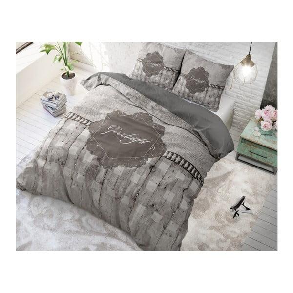 Hnědé povlečení z mikroperkálu na jednolůžko Sleeptime Goodnight,140x220cm