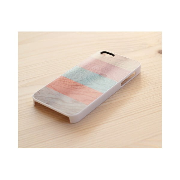 Obal na iPhone 5, Pastel Stripes on wood/white