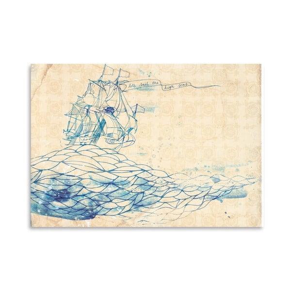 Plakát Blue Ship, 30x42 cm