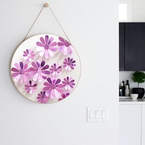 Sada 12 adhezivních 3D samolepek Flowers Purple