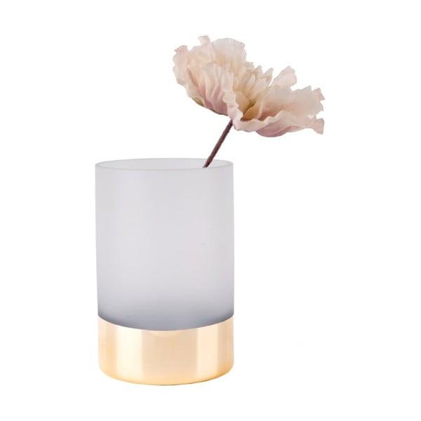 Bílo-zlatá skleněná váza PT LIVING Glamour, výška 15 cm