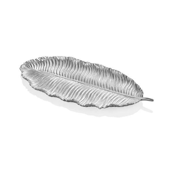 Listek dekoracyjny w srebrnym kolorze The Mia Leaf, 39x17 cm