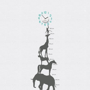 Hodiny se samolepkou Animal Chart, šedá