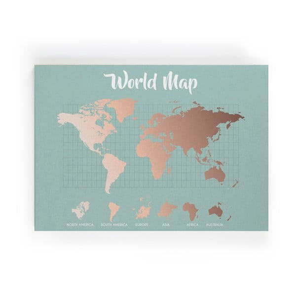 Tablou Really Nice Things Copper Worldmap, 50 x 70 cm