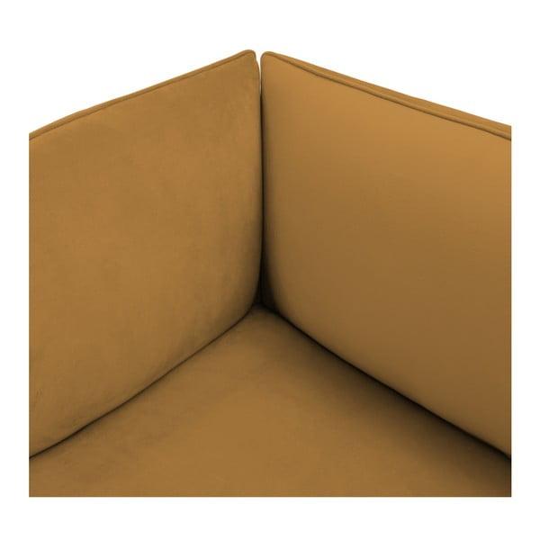 Hořčicově žlutý levý rohový modul pohovky Vivonita Velvet Cube