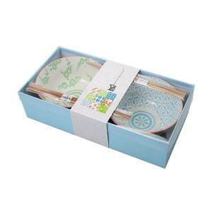 Set porcelánových misek Tayo Blue/Green s hůlkami, 2 ks