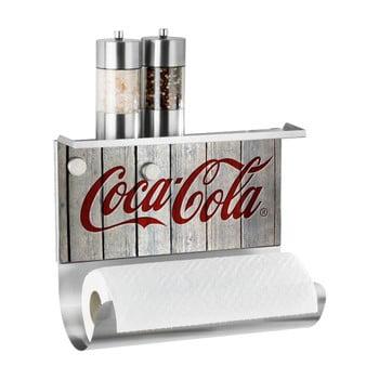 Suport magnetic pentru prosoape de bucătărie cu raft Wenko Coca-Cola Wood de la Wenko