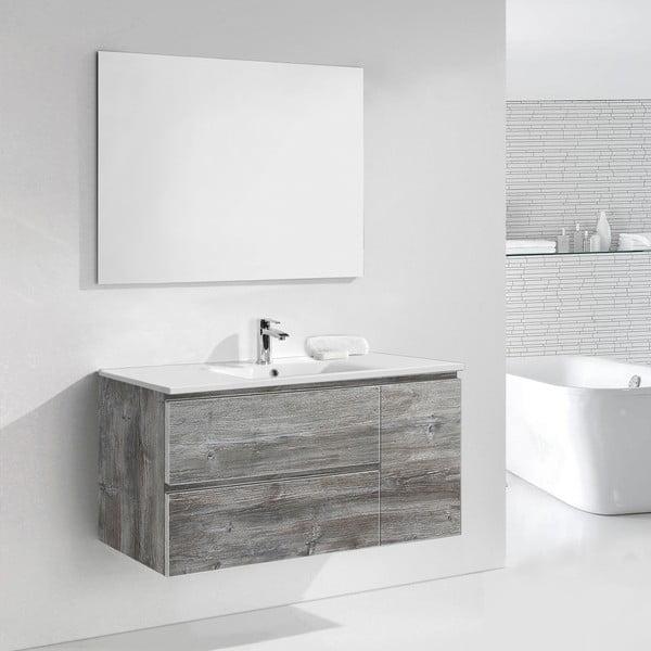 Koupelnová skříňka s umyvadlem a zrcadlem Happy, vintage dekor, 120 cm