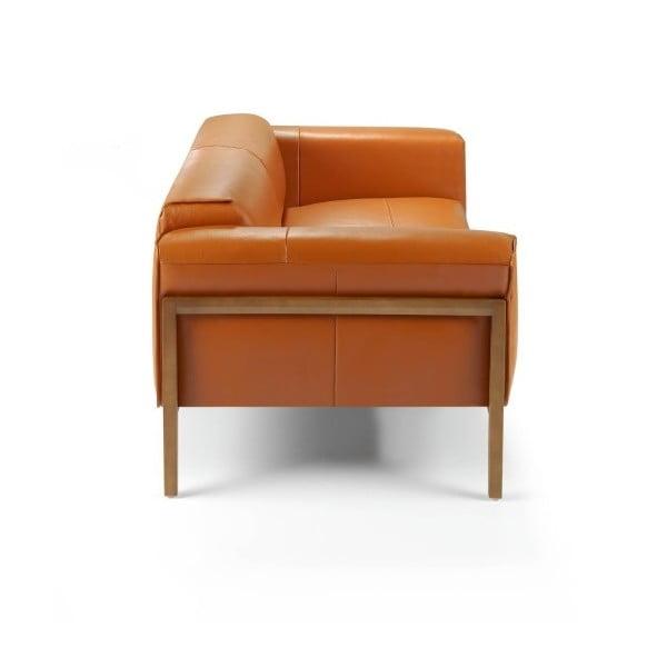 Oranžová kožená 2místná pohovka Ángel Cerdá Livia