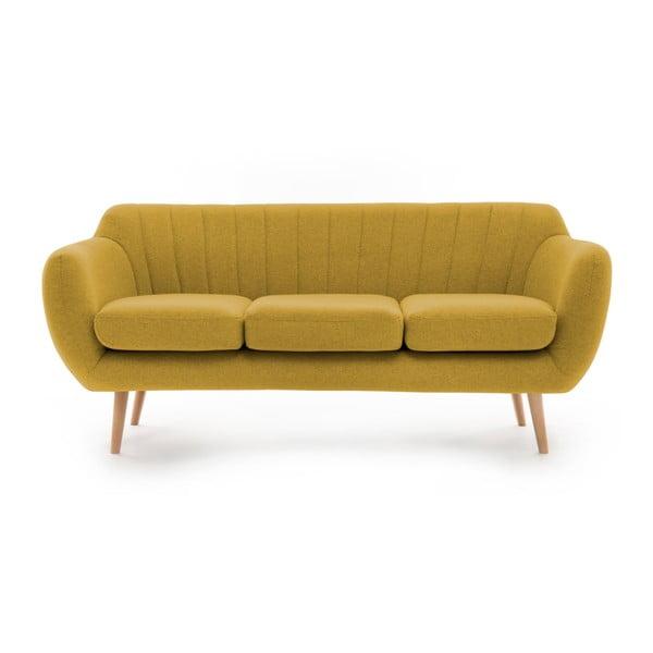 Canapea cu 3 locuri Vivonia Kennet, galben