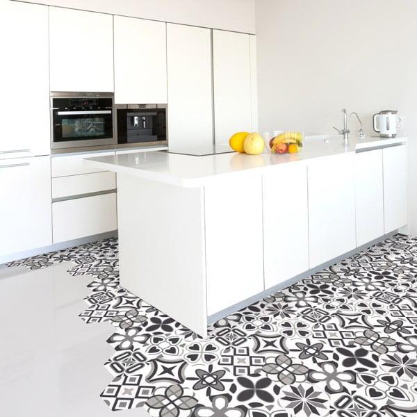 Sada 10 samolepek na podlahu Ambiance Hexagons Fleurita, 20 x 18 cm