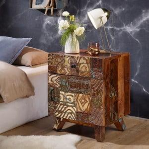Noční stolek z recyklovaného dřeva Skyport CARVED