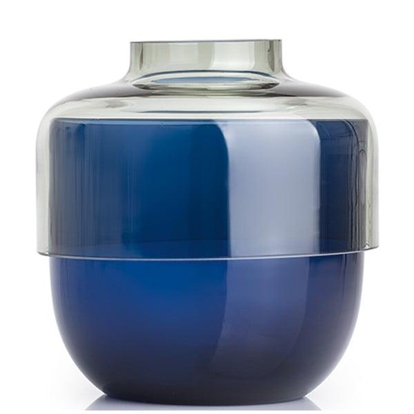 Sada 2 šedo-modrých skleněných váz LEONARDO Fusione