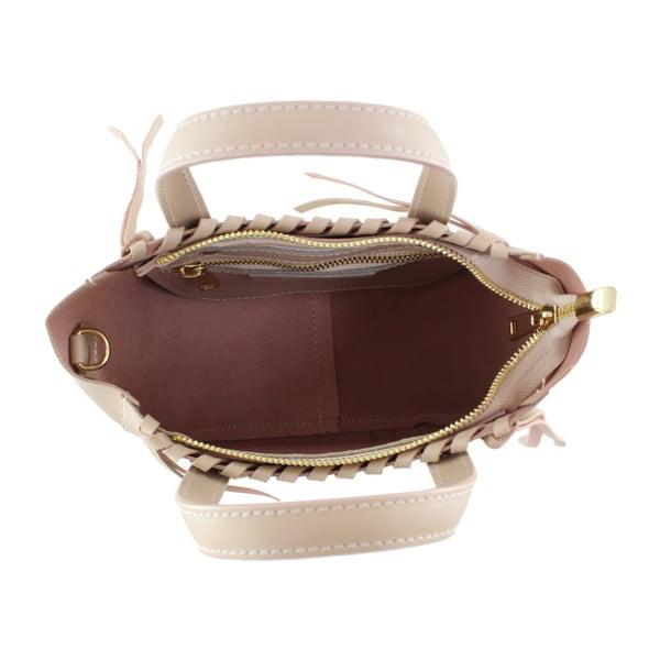 Pudrová kožená kabelka Anna