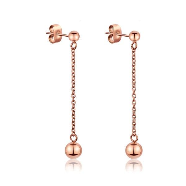 Cercei atârnați din oțel inoxidabil Emily Westwood Smooth, roz auriu