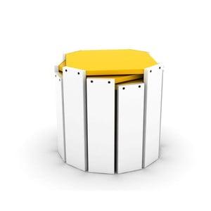 Sada 3 bílých stohovatelných odkládacích stolků se žlutým detailem Rafevi Hansel