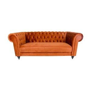 Oranžová třímístná pohovka ze sametu House Nordic Chester
