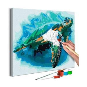 DIY set na tvorbu vlastního obrazu na plátně Artgeist Turtle, 40x40 cm