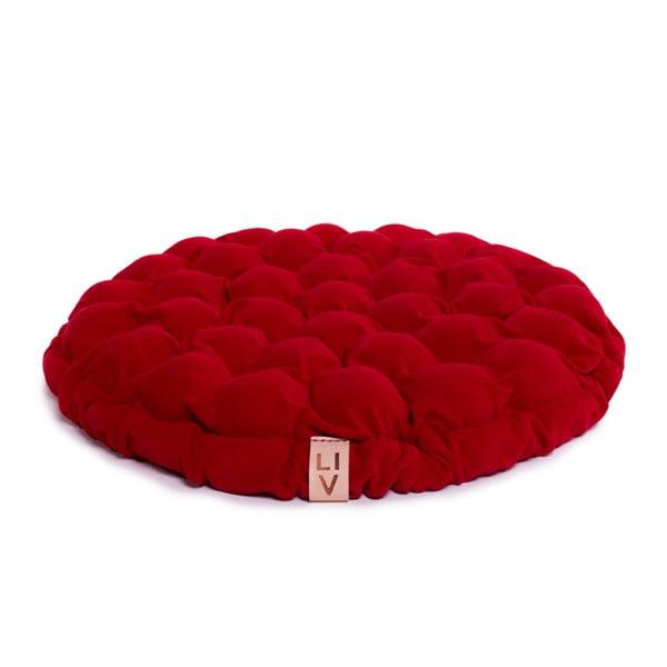 Pernă relaxare cu bile de masaj Linda Vrňáková Bloom, Ø 75 cm, roșu închis