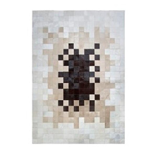Béžový koberec z pravé kůže Pipsa Degradada, 90x150 cm