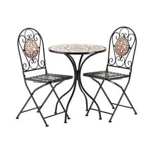 Set 2 cihlově červených zahradních židlí s mozaikou a stolku Premier Housewares Amalfi