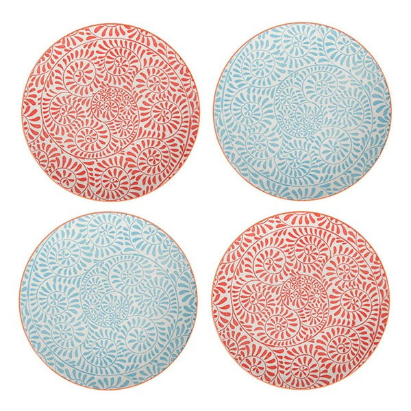 Sada 4 porcelánových talířů Summer, 20.5 cm
