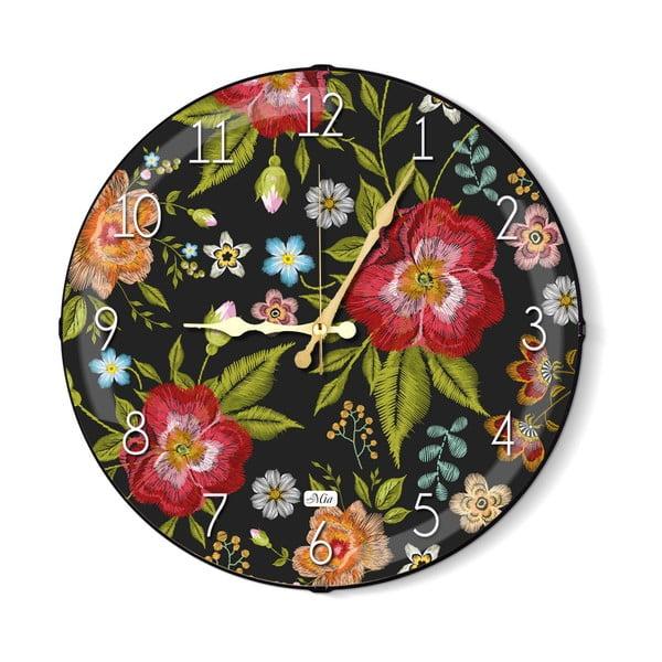 Ceas de perete The Mia Floral, negru-roșu