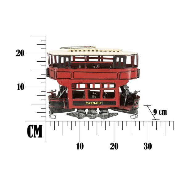 Dekorativní červená kovová tramvaj Mauro Ferretti
