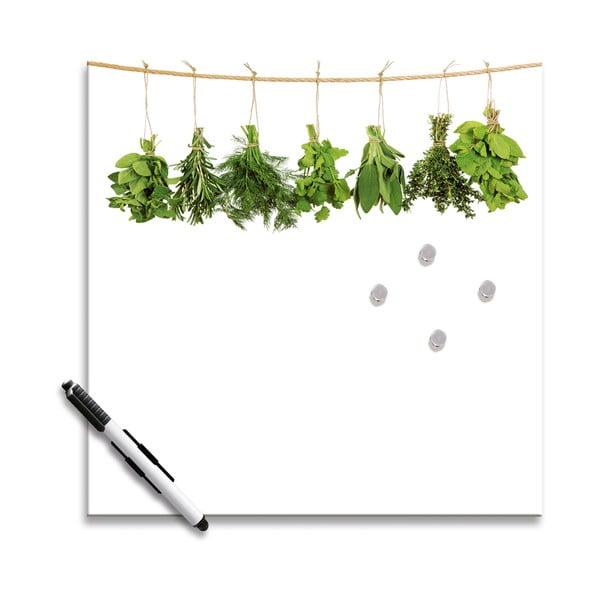 Magnetická tabule Hanging Herbs, 30x30 cm