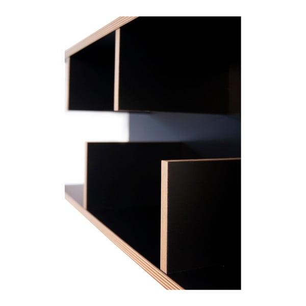 Černý nástěnný policový systém TemaHome Bern, 230 x 90 cm