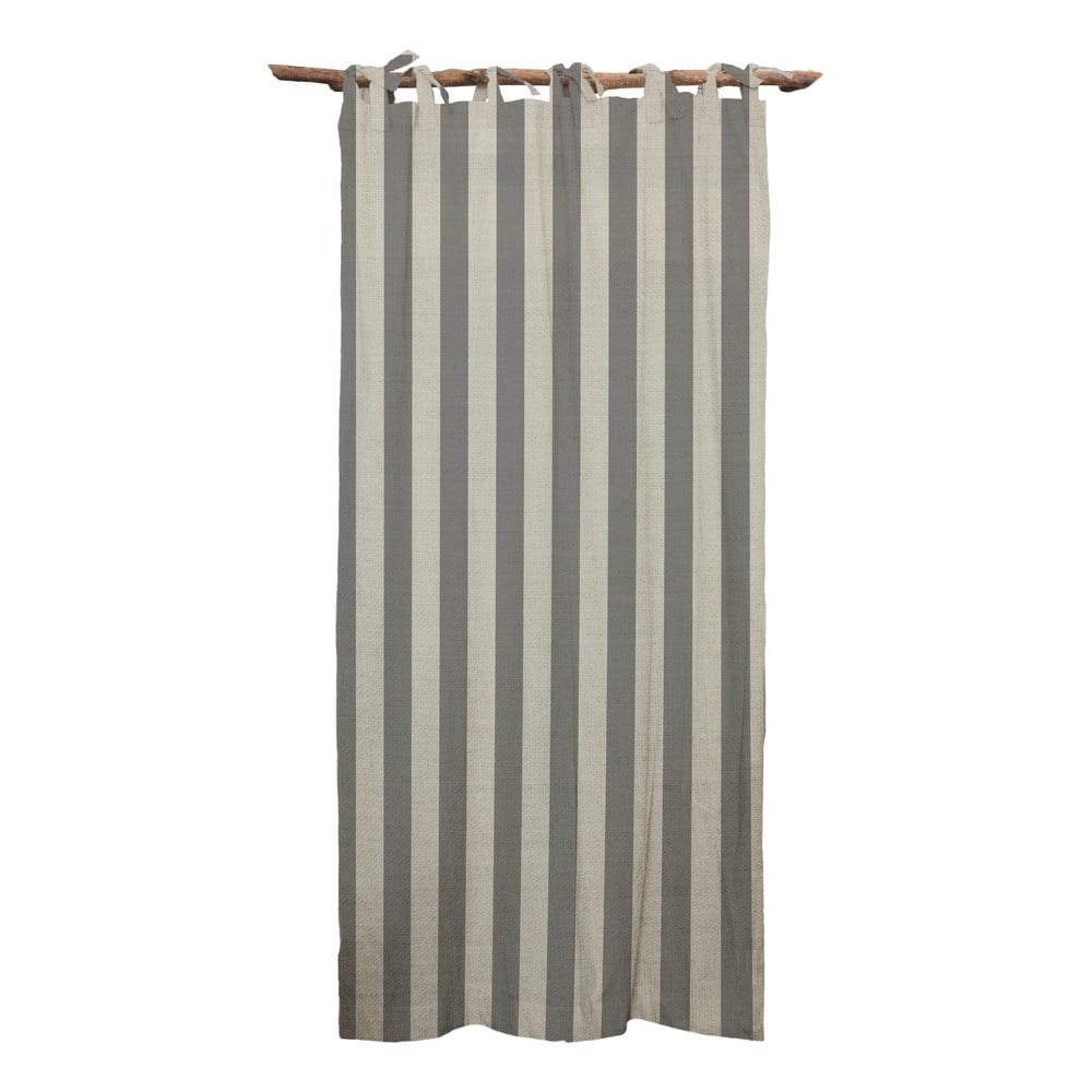 Šedý závěs Linen Cuture Cortina Hogar Grey Stripes