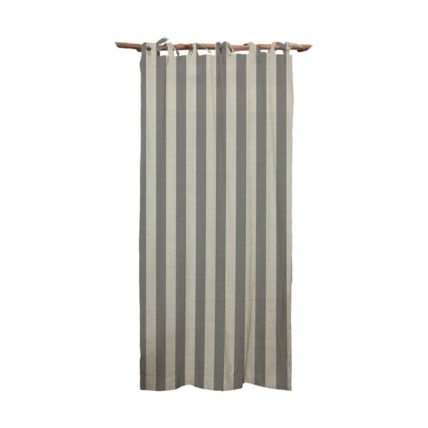 Szara zasłona Linen Cuture Cortina Hogar Grey Stripes