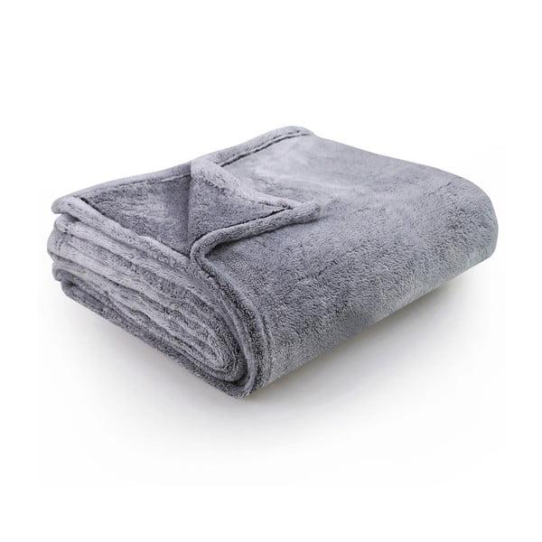 Sivo-modrá deka z mikrovlákna DecoKing Fluff Charcoal, 170 x 210 cm