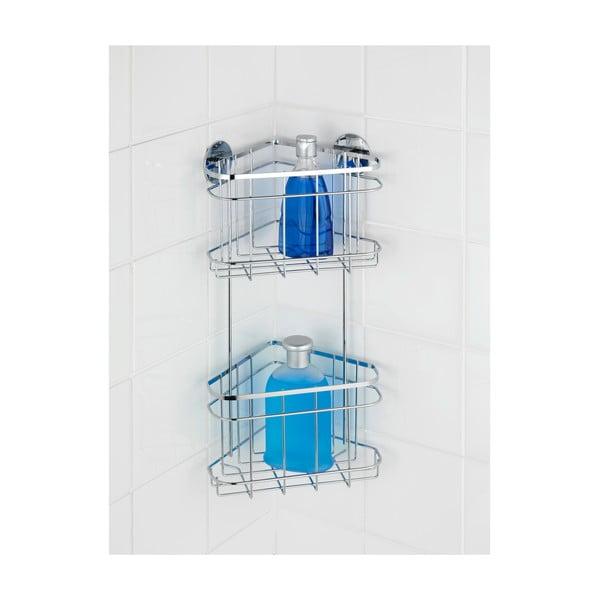 Samodržící dvoupatrová rohová polička Wenko Turbo-Loc, až 40 kg